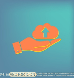 hand holding a cloud download icon download files vector image