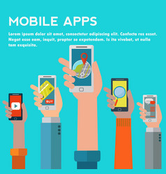hands holding mobiles showing different vector image