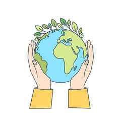 hands holding planet earth with green leaves vector image