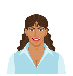 handsome man with long curly hair vector image