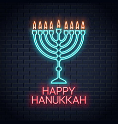 happy hanukkah neon sign on wall background vector image