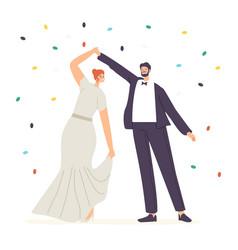 happy newlywed couple perform wedding dancing vector image