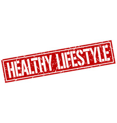 Healthy lifestyle square grunge stamp vector
