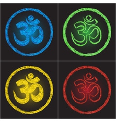 Hinduism religion golden symbol om on black backgr vector image