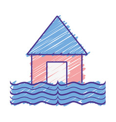 House flood to the water disaster weather vector