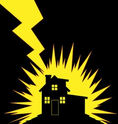 House struck lightning vector