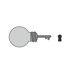 icon concept light bulb key with keyhole vector image