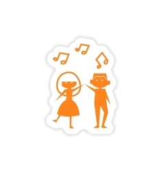 Icon sticker realistic design on paper couple vector