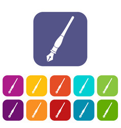 ink pen icons set flat vector image