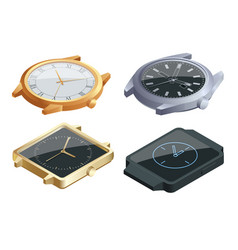 Isometric set of of wristwatches isolated on white vector