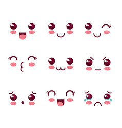 Kawaii faces design vector