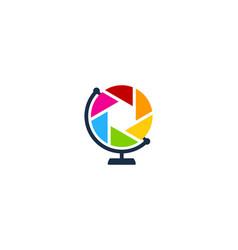 lens globe logo icon design vector image