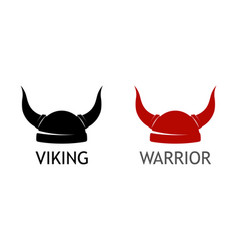 logo with viking horned helmet silhouette on white vector image