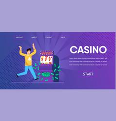 lucky man win cash money slot machine vector image
