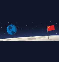 Moon landscape with china flag and earth scene vector