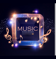 Music event shining banner with golden notes and vector