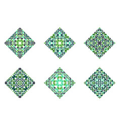 Ornate colorful abstract floral diagonal square vector