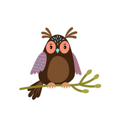 Owl cartoon cute owl on tree branch vector