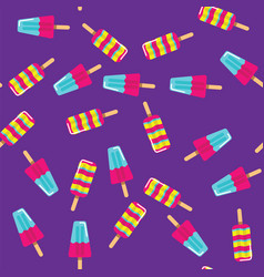 Pattern ice cream on stick on purple background vector