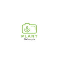 Plant flower camera photography line logo vector