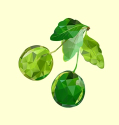polygonal green cherries vector image vector image