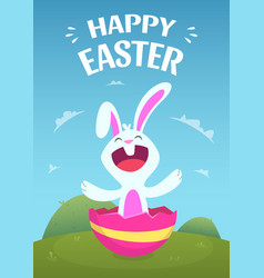 poster template with easter rabbit vector image