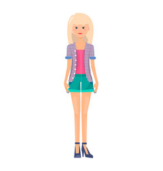 Pretty woman in summer mode outer garment style vector
