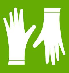Protective gloves icon green vector