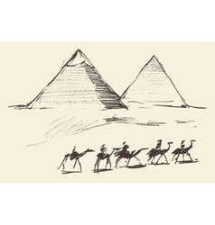Pyramids Cairo Egypt with Caravan Camels Vintage vector