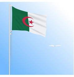 Realistic flag of algeria fluttering in the wind vector