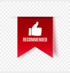 Recommended tag isolated vector