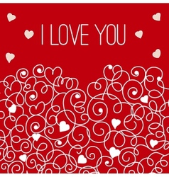 Red greeting card with floral heart shape I love vector