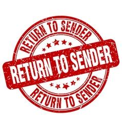 Return to sender red grunge round vintage rubber vector