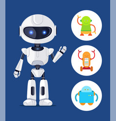 robot with glowing eyes set vector image