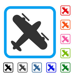 Screw aeroplane framed icon vector