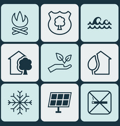 Set 9 ecology icons includes sun power timber vector