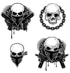 Set gangsta skull emblems vector
