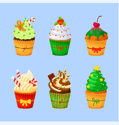 Set of sweet christmas and new year cupcakes vector