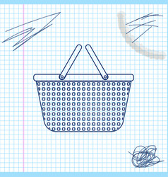 shopping basket line sketch icon isolated on white vector image