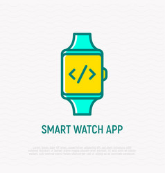 Smart watch app icon symbol of coding on screen vector