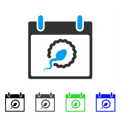 Sperm insemination calendar page flat icon vector