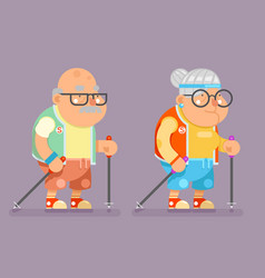 Sports healthy grandfather granny active lifestyle vector