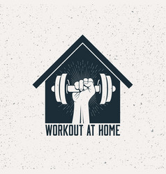 strong raised arm with dumbbell in house vector image