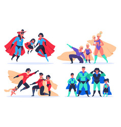 superhero families wonder dad mom and kids vector image