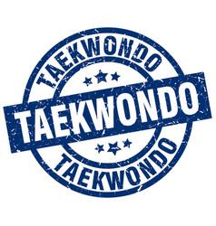 Taekwondo blue round grunge stamp vector