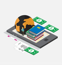technology mobile phone isometric for book store vector image