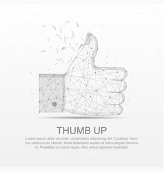 Thumb up mesh line digitally drawn low poly wire vector
