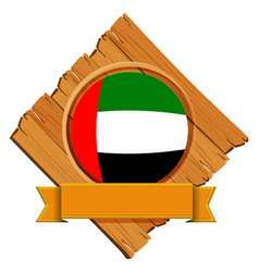 united arab emirates flag on round badge with vector image