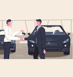 Used car dealership composition vector