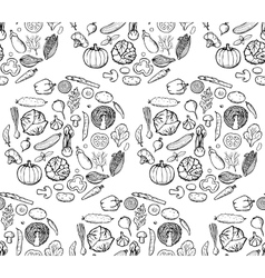 Vegetable Doodle Seamless Pattern vector